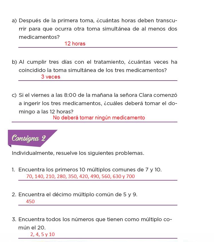 Respuestas Los medicamentos - Desafíos matemáticos 6to Bloque 5to 2014-2015