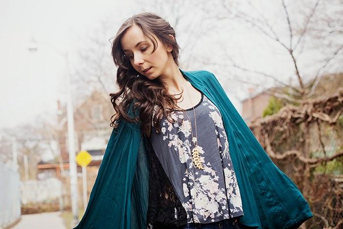 Trapeze-floral-lace-tank-Teal-kimono