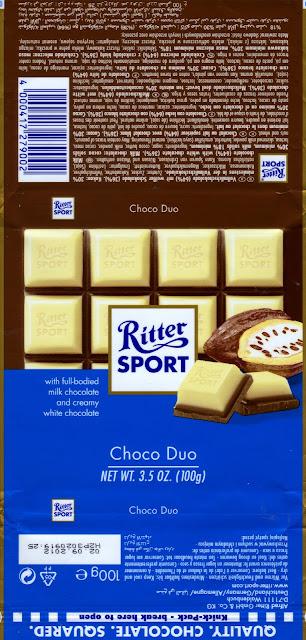 tablette de chocolat lait gourmand ritter sport lait choco duo