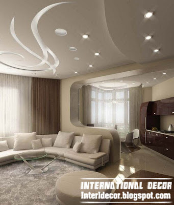 modern false ceiling design ideas for living room with modern lighting