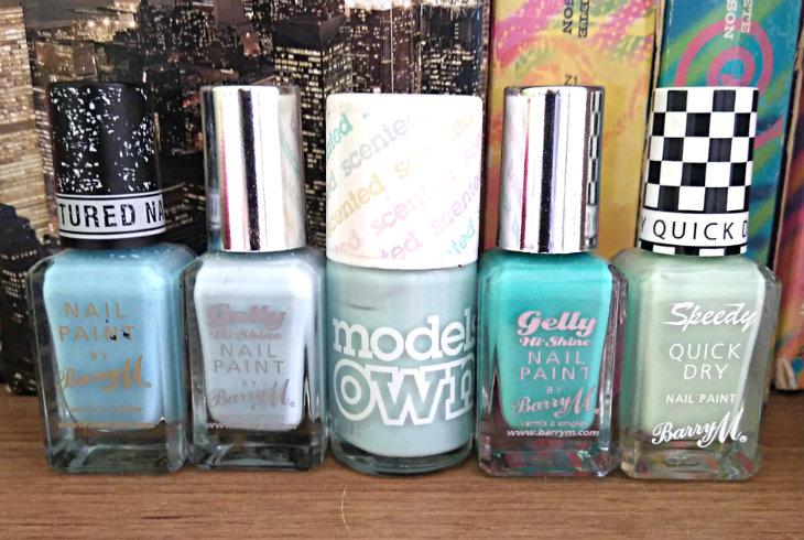 Blue and green nail polish shades