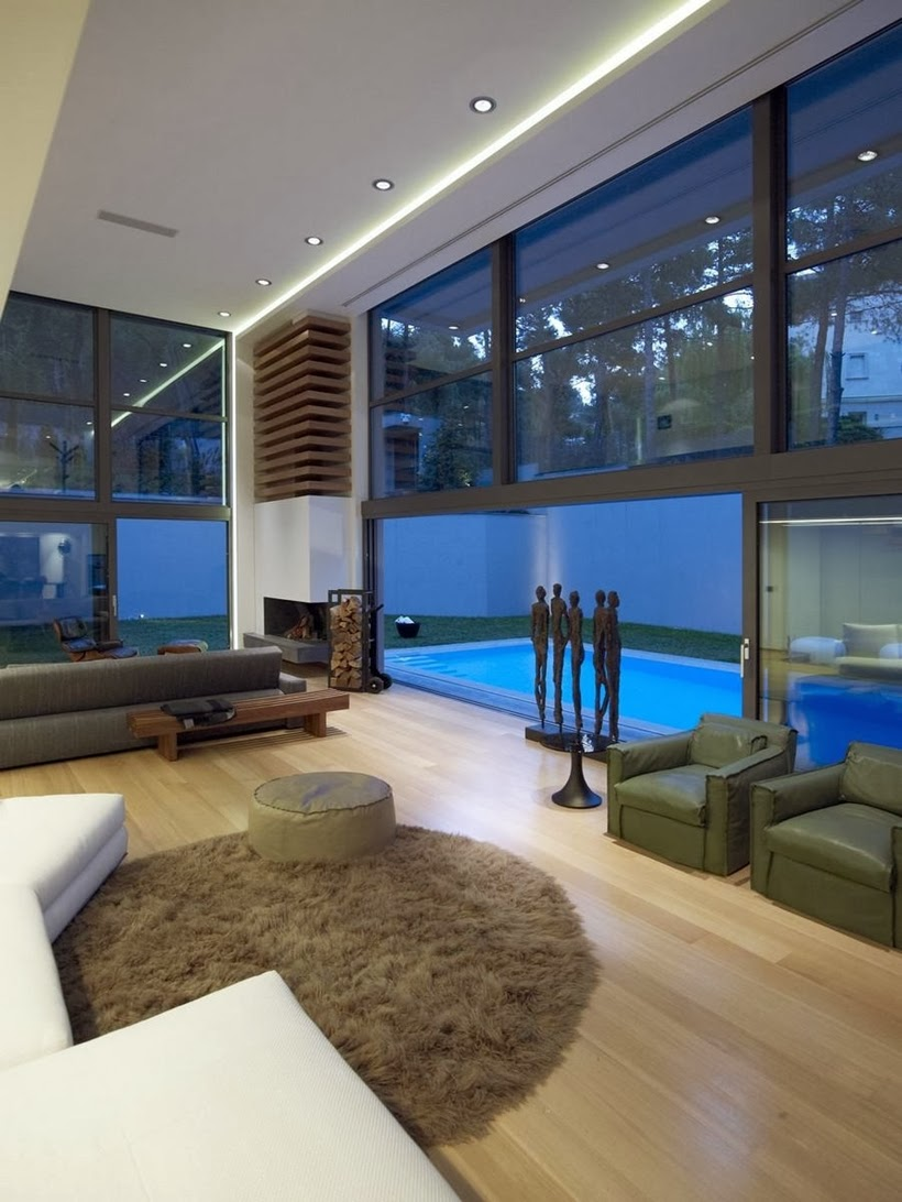 Living room glass wall in Modern Mansion in Dionysos