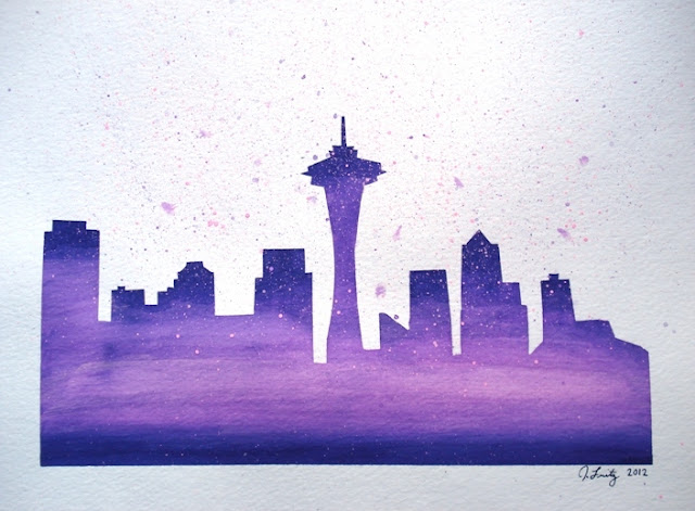 Seattle skyline watercolor