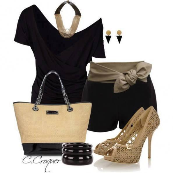 Stylish black outfits with brown high heels