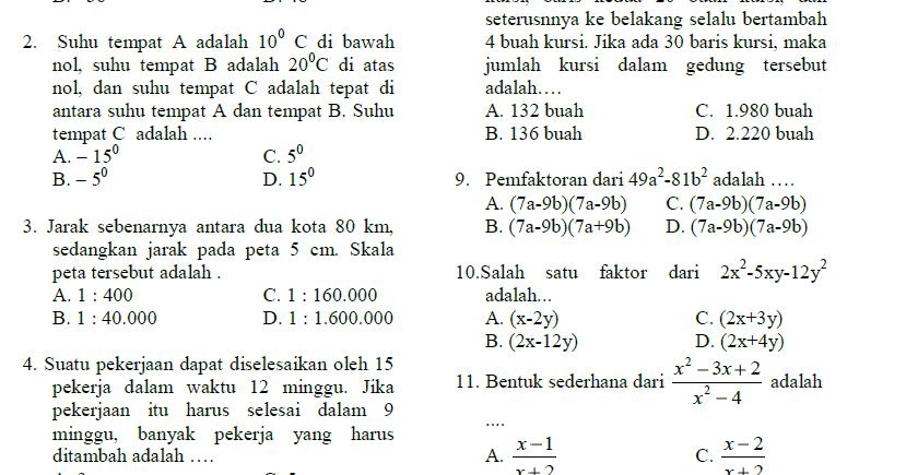 3 Soal Ujian Sekolah Us Matematika Smp Mts