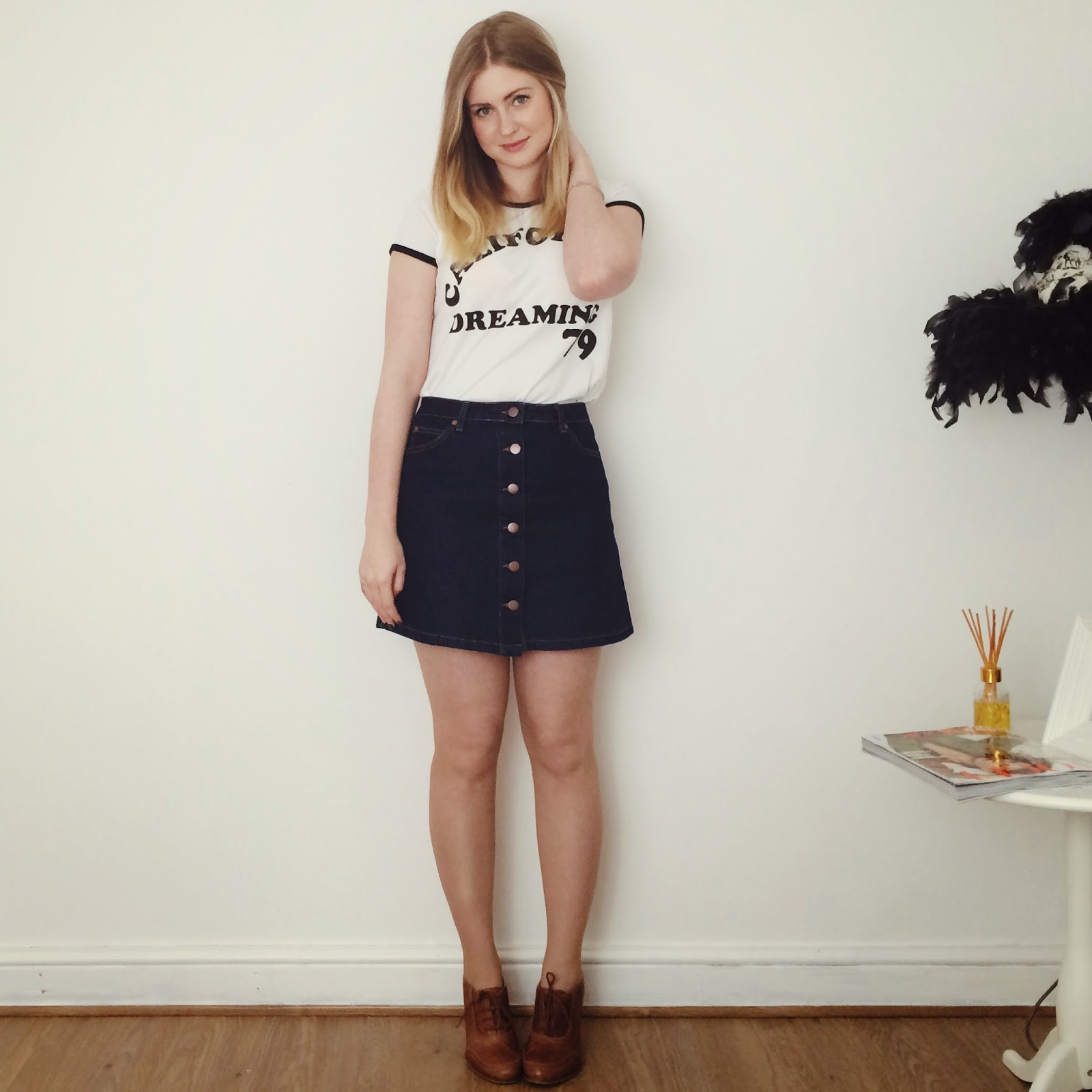 FashionFake, fashion bloggers, UK fashion blog, denim A line skirt