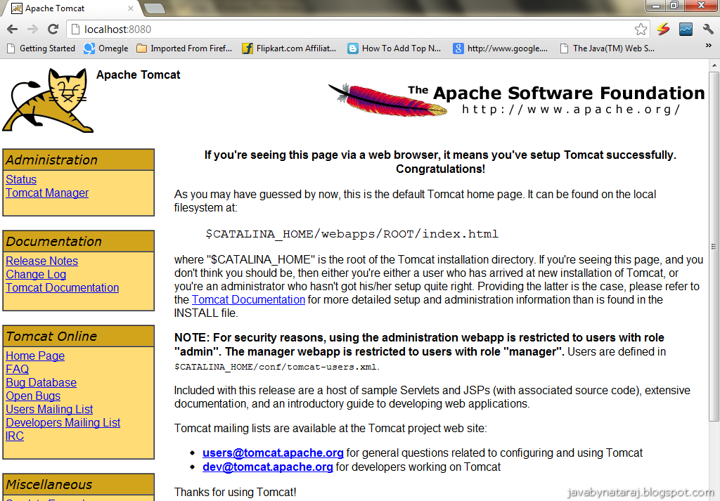 Installtion and Configuration Tomcat 6.0 JavabynataraJ