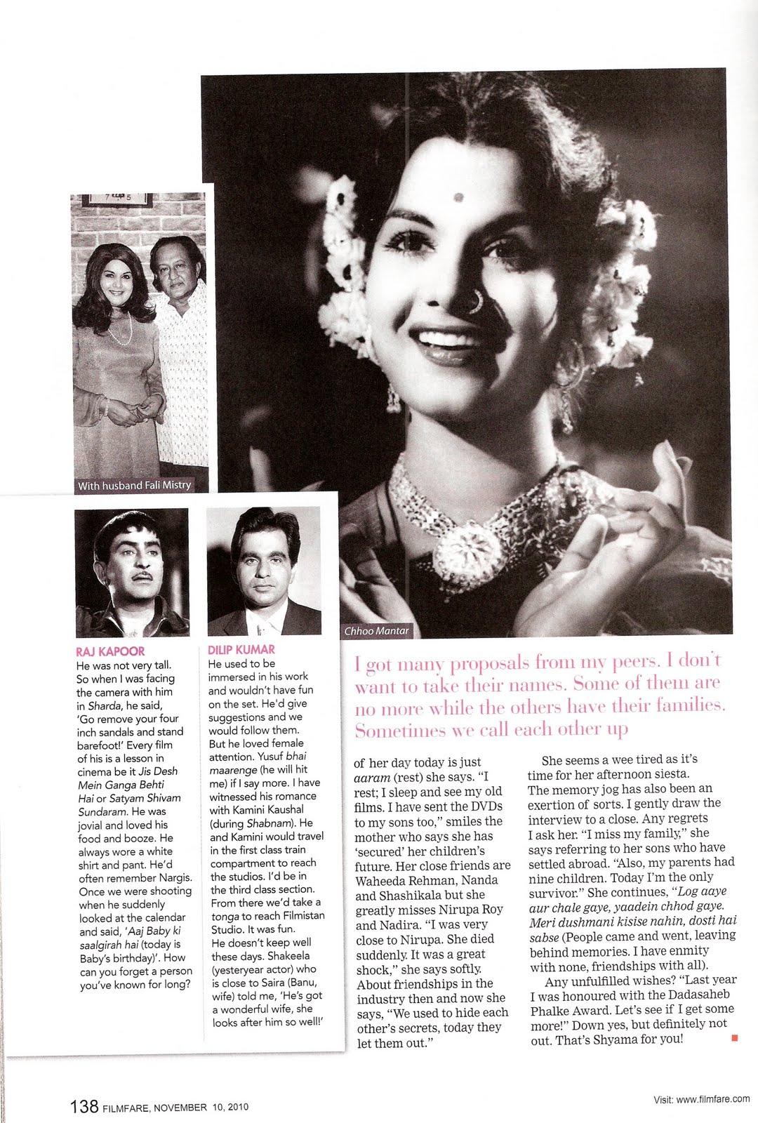 bollywooddeewana: Shyama on Life in Films
