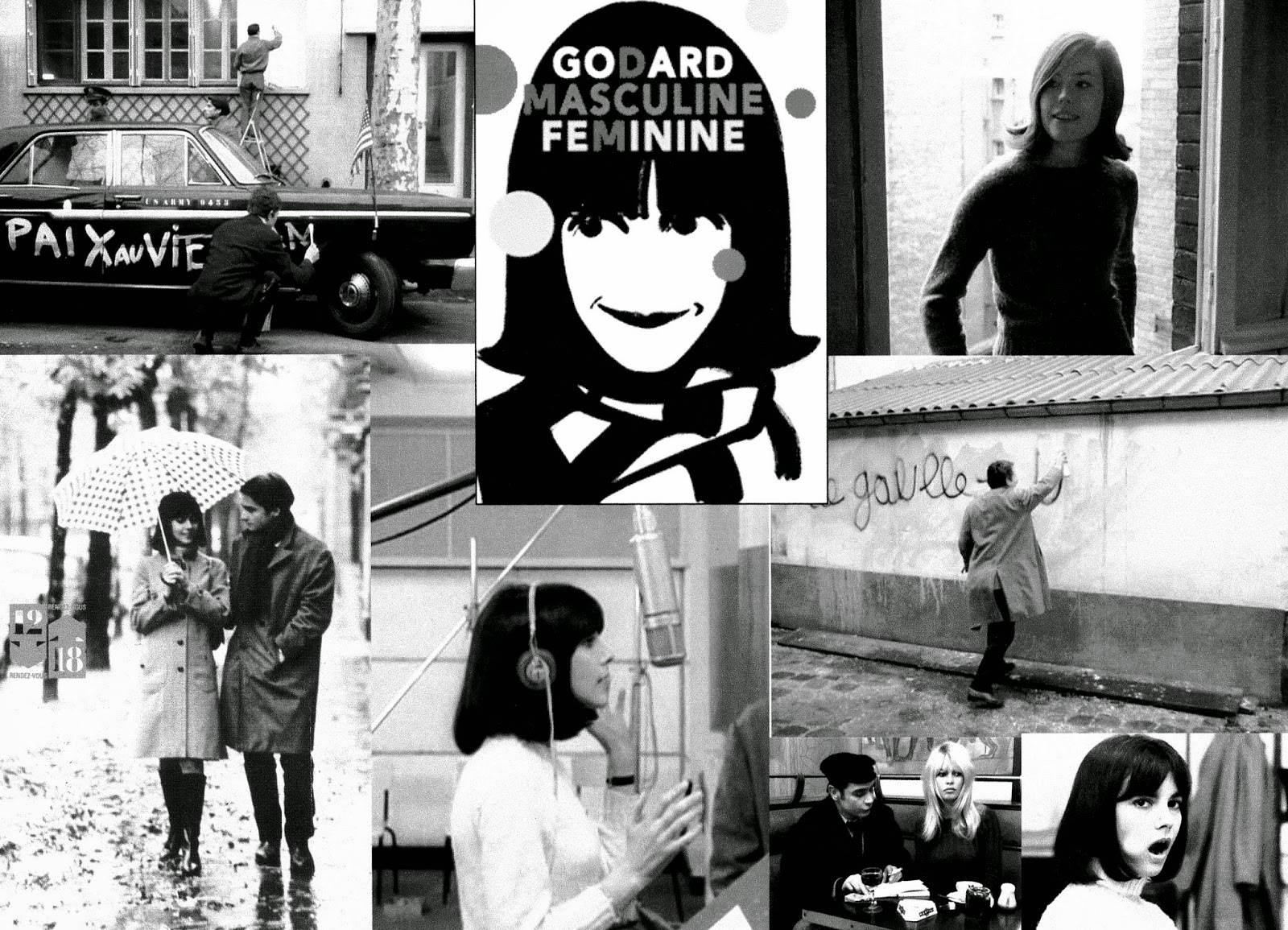 a review of the film godards masculine feminine Directed by jean-luc godard with jean-pierre léaud, chantal goya, marlène jobert, michel debord shouldn't work, but thanks to its dedicated portrayal of the motivations and thoughts of the sixties french adolescents and young adults, it does.