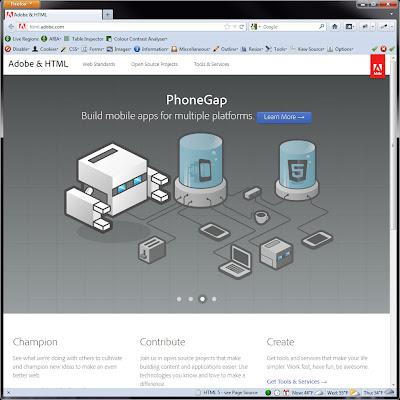 Screen shot of http://html.adobe.com/.