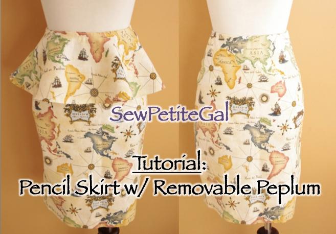 sewpetitegal pencil skirt w removable peplum diy tutorial