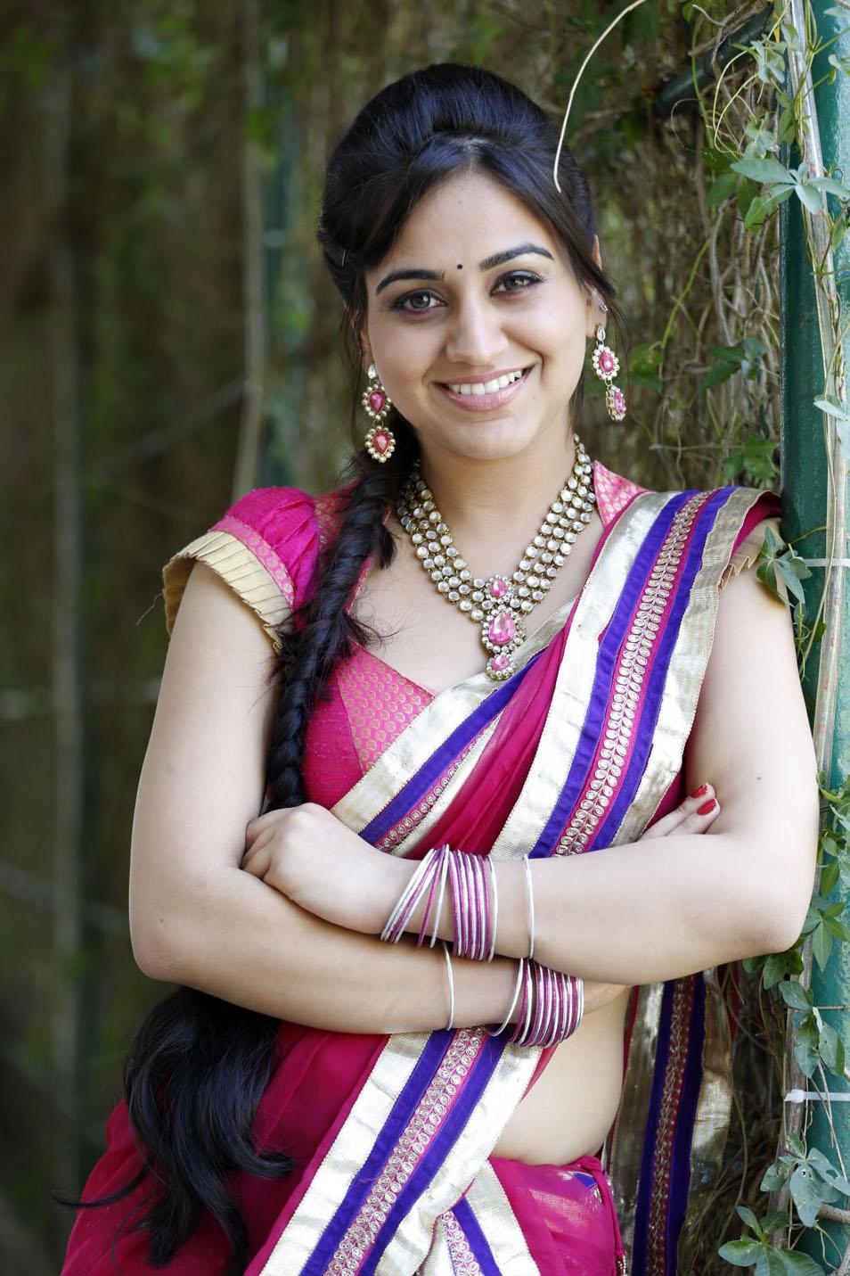 Cute aksha in pink saree