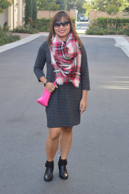 Loft Stripe Sweater Dress, blanket scarf