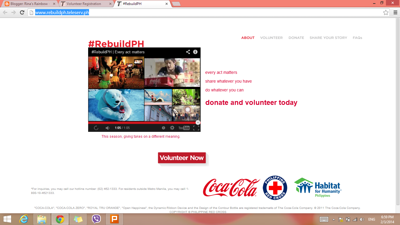coca cola rebuildPH website