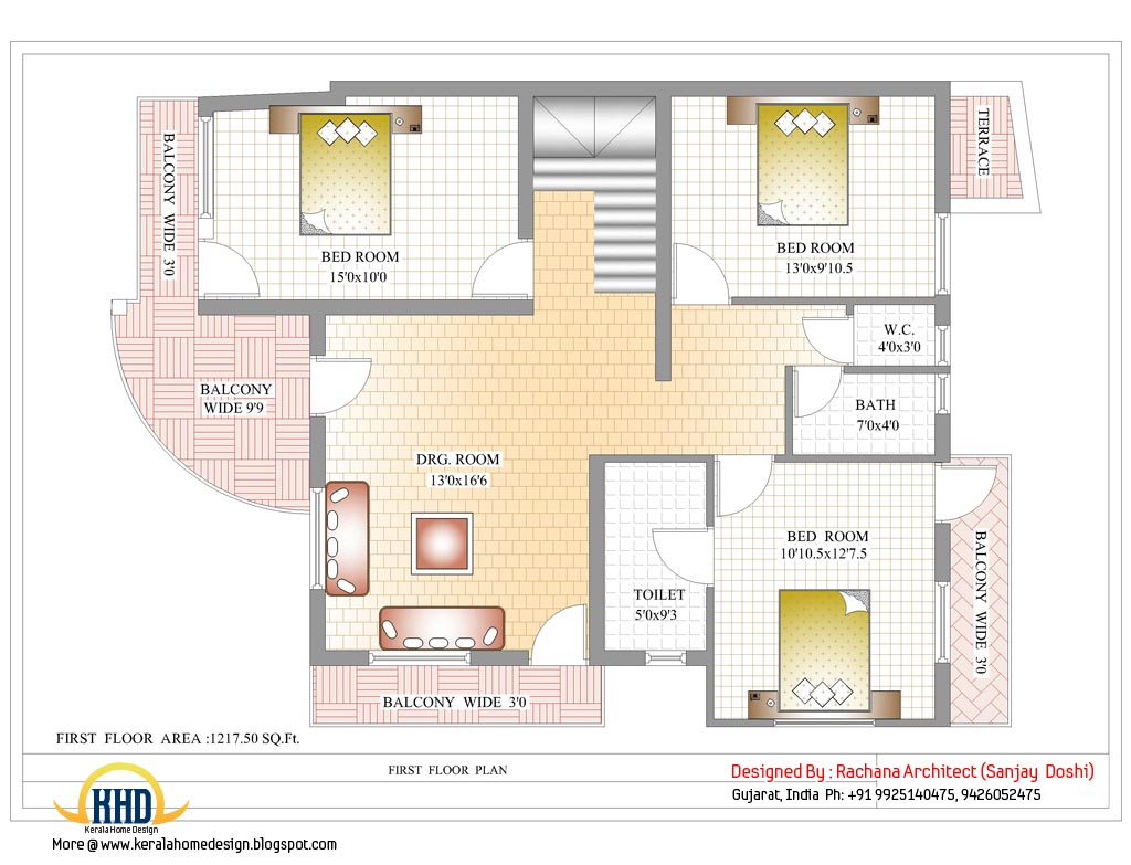 Indian home design with house plan 2435 sq ft home for 1st floor house plan india