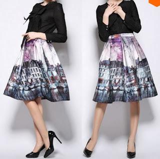 Falda vintage estampada, plisada y con cintura ancha