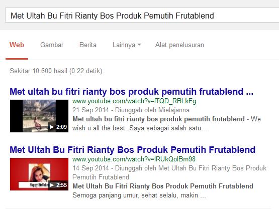 Met Ultah Bu Fitri Rianty Bos Produk Pemutih Frutablend posisi teratas