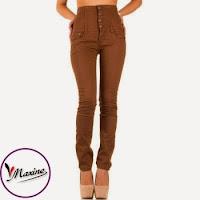 Jeansi moderni, de culoare cafenie, cu talie inalta ( )
