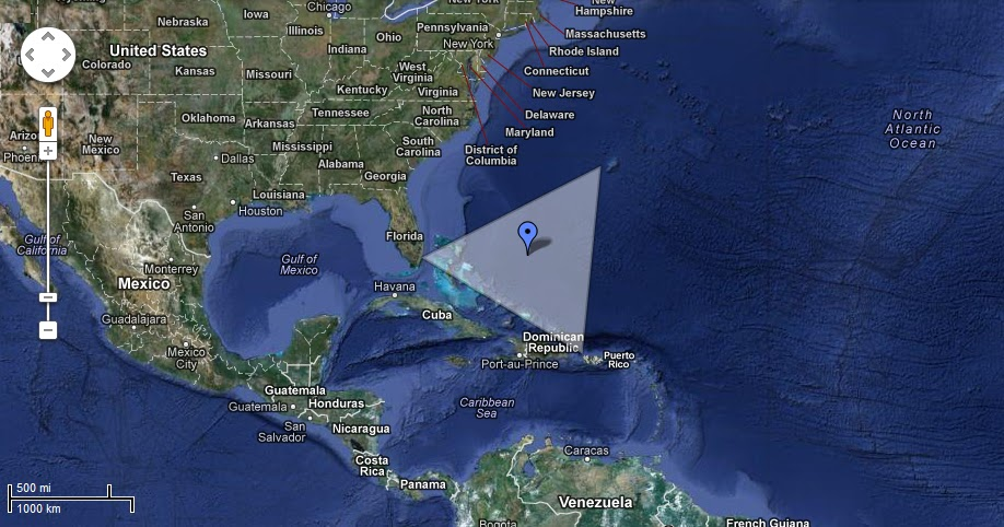 Bermuda Triangle Map Live Satellite Images in Google Earth ...