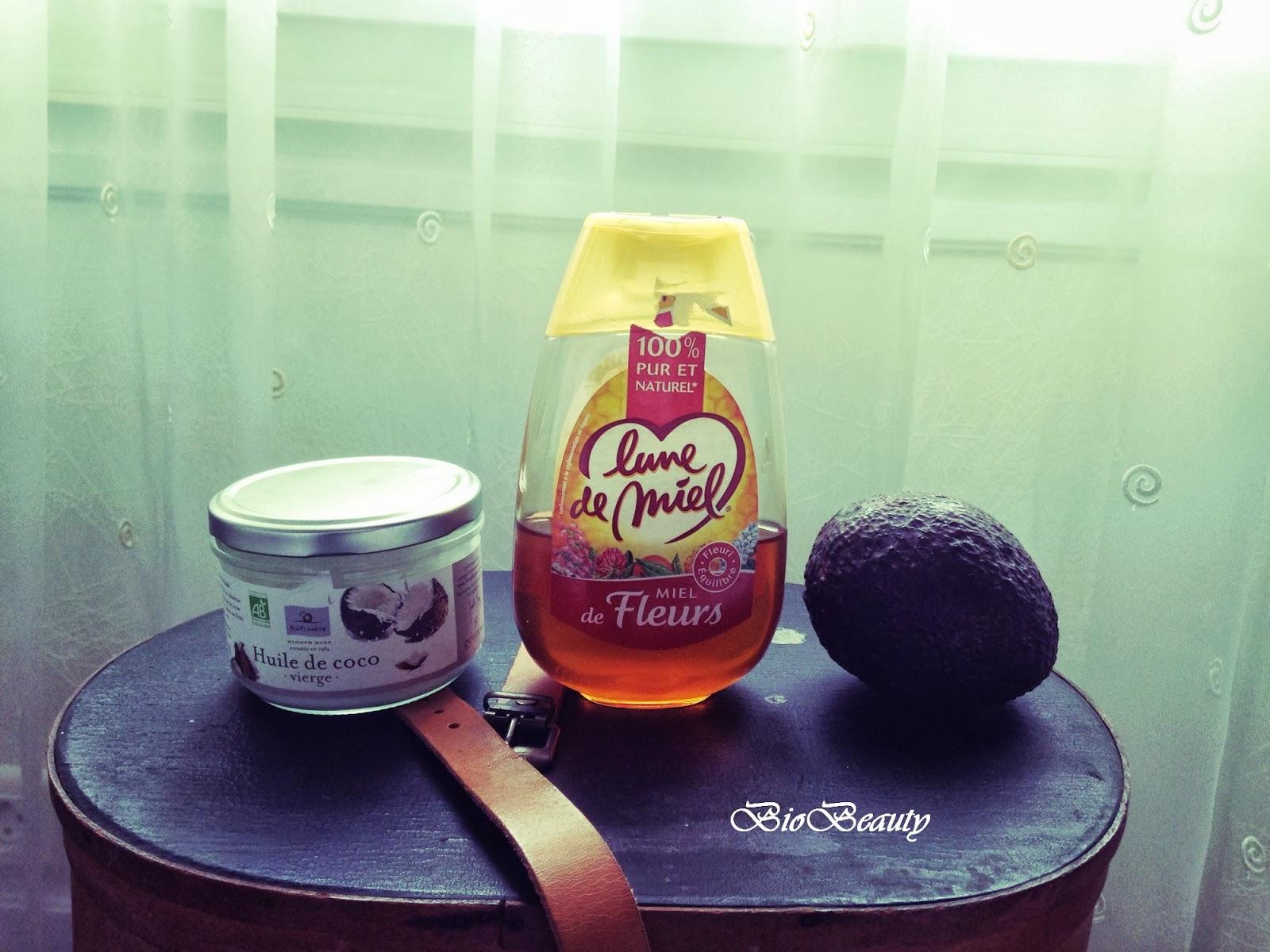 biobeauty masque maison pour cheveux avocat coco miel. Black Bedroom Furniture Sets. Home Design Ideas