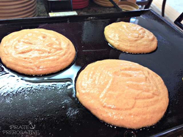 Perfect Pumpkin Pancakes on the griddle.