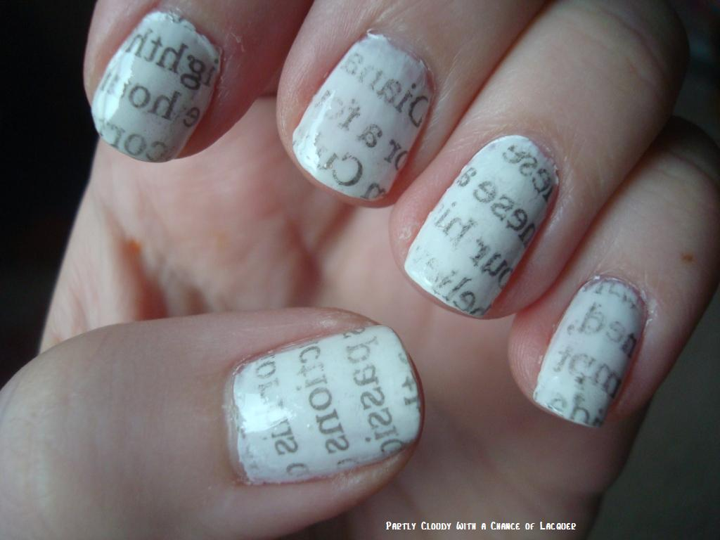 Newspaper Nails | Partly Cloudy With a Chance of Lacquer