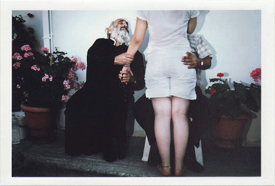 dirty photos - Once - street photo of two men and girl , one is a priest