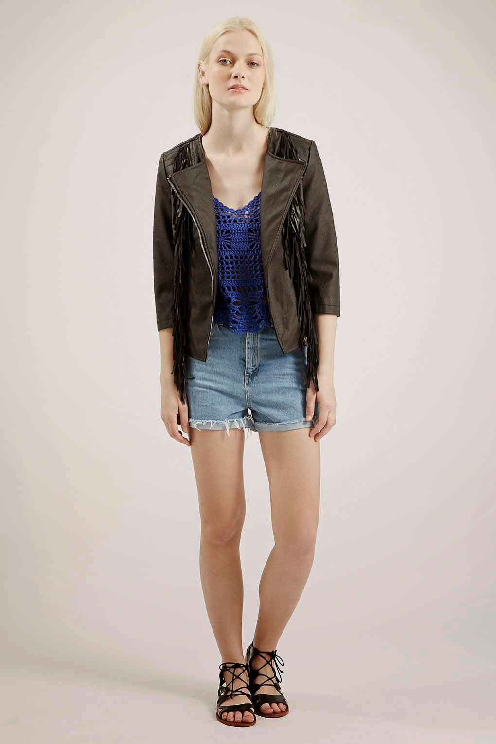 faux leather fringed jacket,