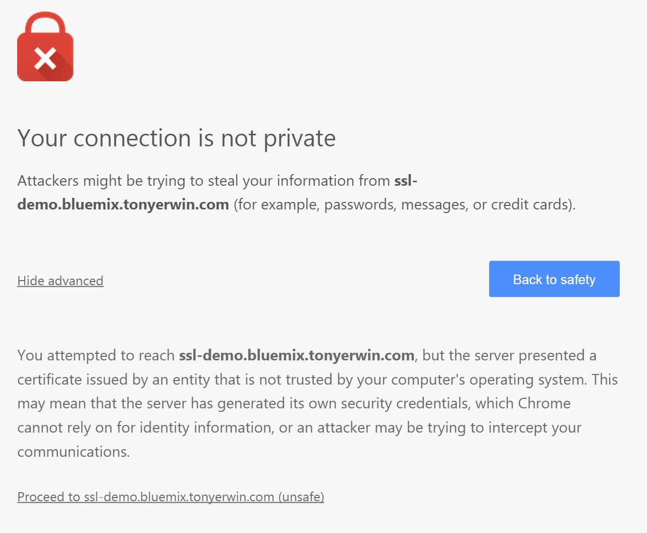 Bluemix UI: Chrome Warning Non-Trusted