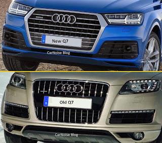 Exterior Front View: New 2015-2016 Audi Q7 versus Old Audi Q7