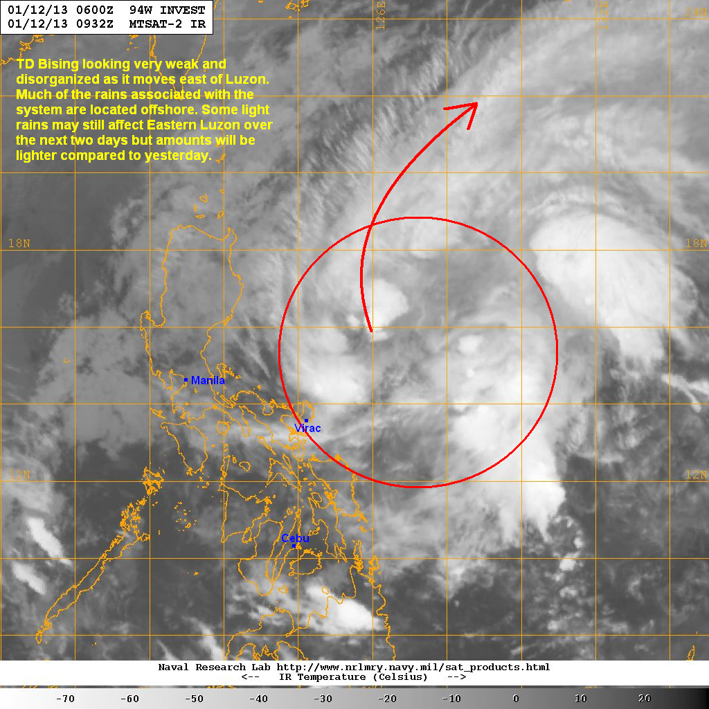 latest satellite image shows the system struggling to consolidate there is very little convection near the center and much of the rainclouds are located