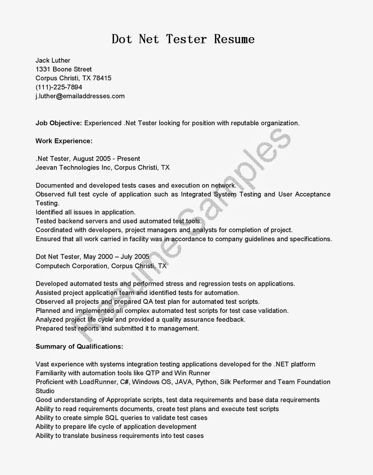 resume samples dot net tester resume