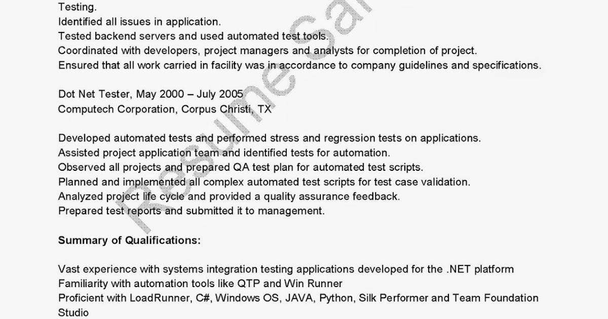 resume sles dot net tester resume