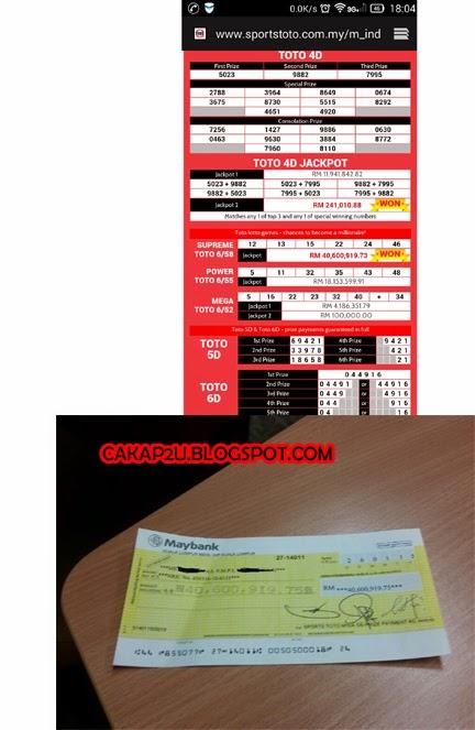 jackpot sport toto rm40 juta,keputusan nombor ekor,4D