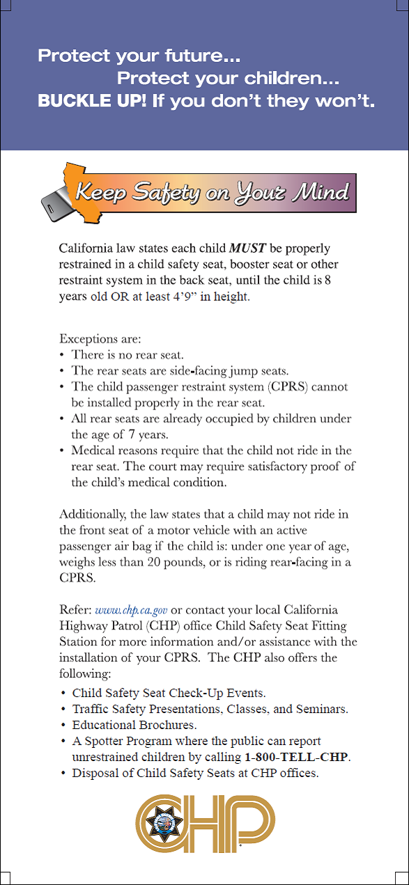 Child Passenger Safety Week September 16 22 2012 Choices For