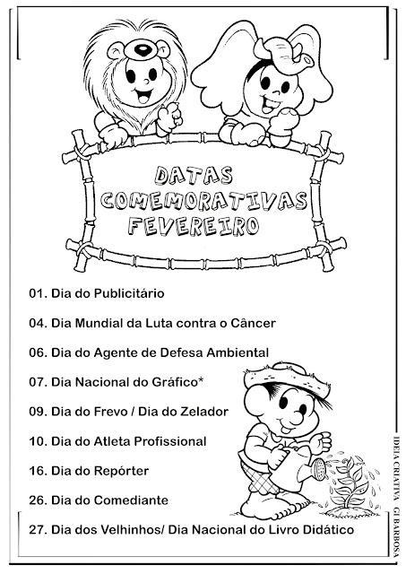 Datas Comemorativas Mês de Fevereiro Turma da Mônica