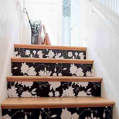 Sure fit slipcovers unique ways to decorate the stairs - Wallpaper for staircase ideas ...