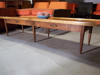 Lane mid century 70 long surfboard coffee table 395 for Long coffee table with storage