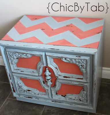 diy chevron table makeover