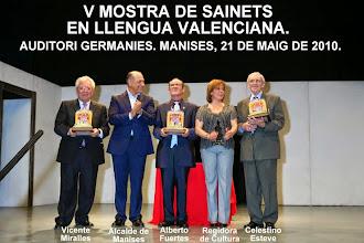 V MOSTRA DE SAINETS EN LLENGUA VALENCIANA. MANISES 2010.