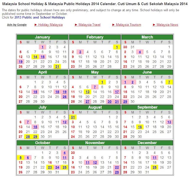 Kalender Cuti Umum 2014!!! tapi cuti sekolah yang rasmi belum keluar