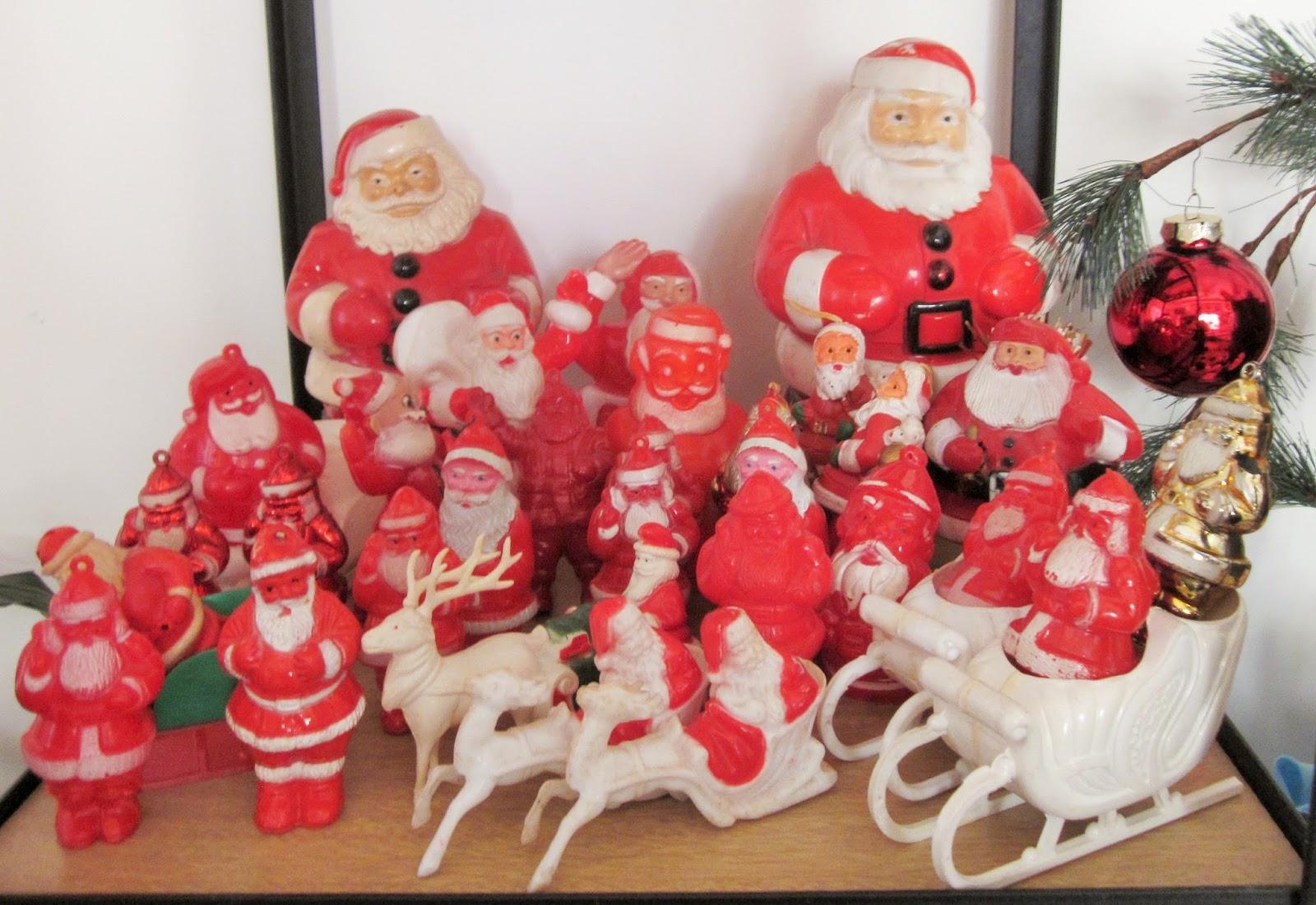 vintage plastic santas - Vintage Plastic Christmas Decorations
