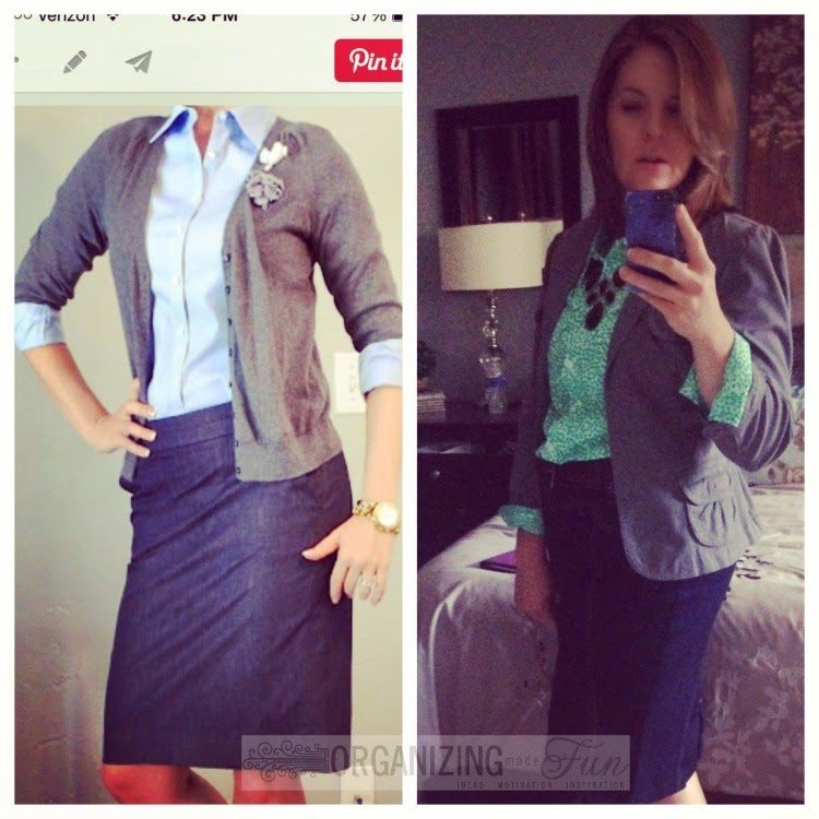 Find outfits from your own closet through Pinterest:: OrganizingMadeFun.com -- green printed top, black chunky necklace, gray blazer, denim pencil skirt