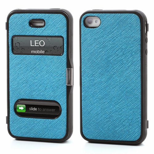Cross Grain Texture Flip Cover TPU Case for iPhone 4 4S - Blue