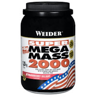 Aparece un bote de hidratos de carbono de la marca Weider, de la línea Super Mega Mass 2000