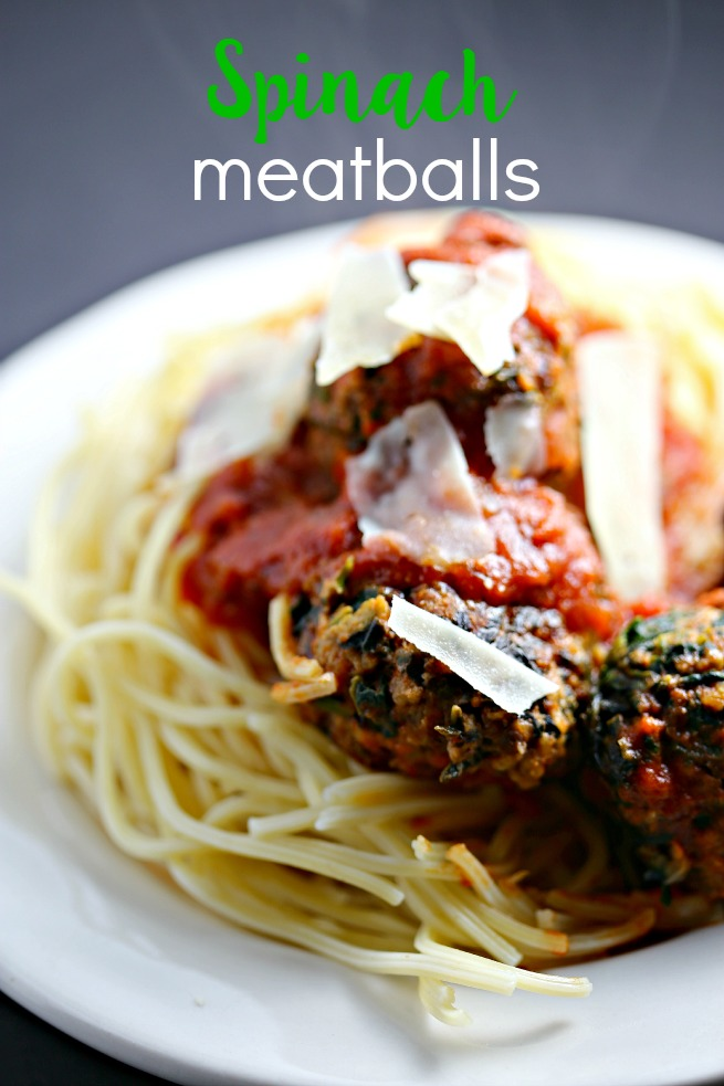 Spinach, beef, and Italian sausage make up these savory spinach meatballs.  This is such an easy way to sneak in healthy greens.