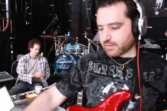 American Idol Guitar Player Tony Pulizzi rehearses with the band
