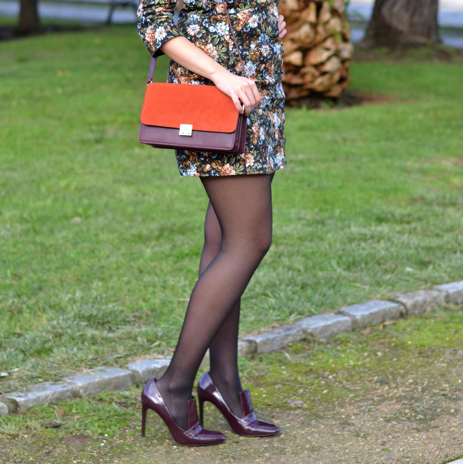 burgundy, heels, zara