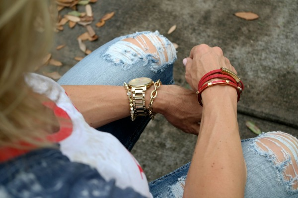 Summer Fashion - distressed jeans - Born in the USA Tee - accessories - arm candy
