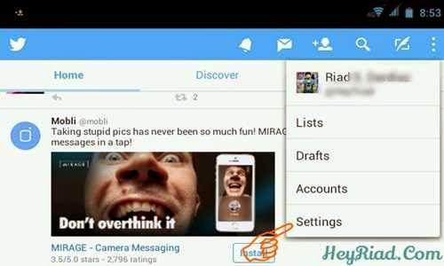 Merubah kata sandi twitter di Android